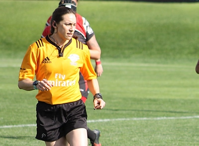 Frank's granddaughter, Haylee Slaughter, for international rugby referee